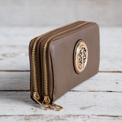 Double Zip Taupe Medallion Wallet