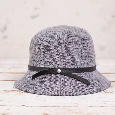 Gray Cloche Hat with Black Band