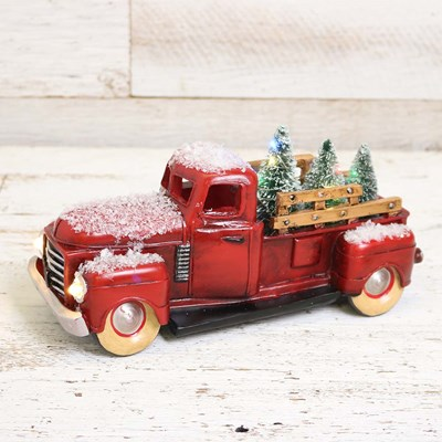 Light Up Christmas Tree Delivery Truck Decor