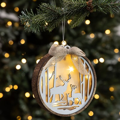 Light-Up Deer Disc Ornament