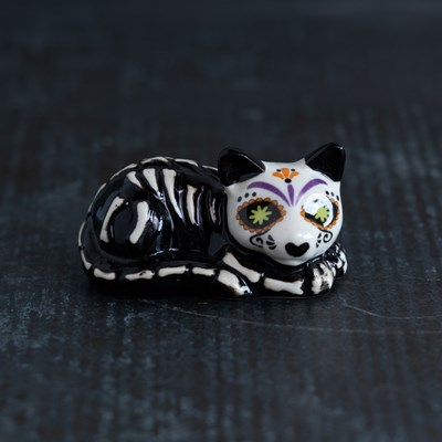 Mini Sugar Skull Cat Salt Shaker