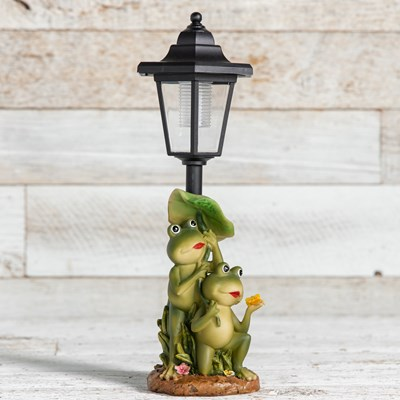 Solar LED Lamp Post with Frogs