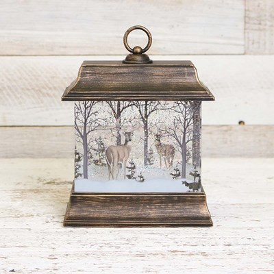 Deer in Forest Glitter Lantern Globe
