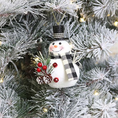 Snowman with Red Bells Ornament