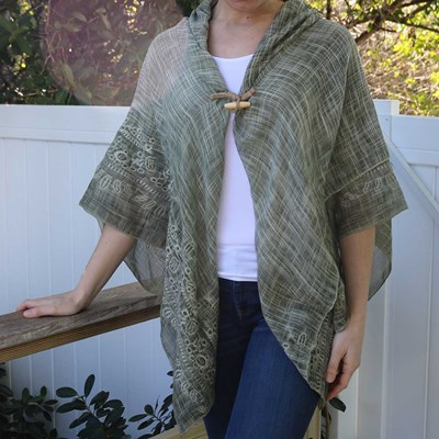 Embroidered Trim Toggle Shawl
