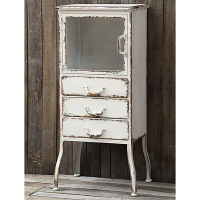 Metal Cabinet with 3 Drawers - Distressed White