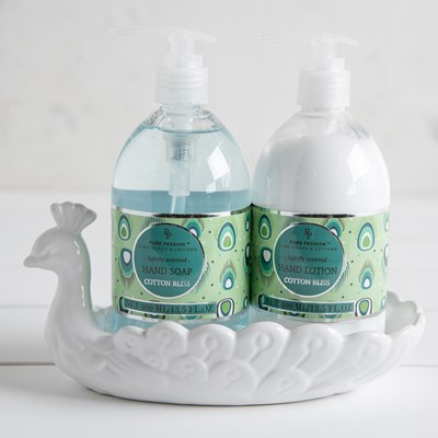 Peacock Ceramic Soap Lotion Caddy