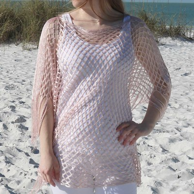 Soft Coral Fishnet Poncho
