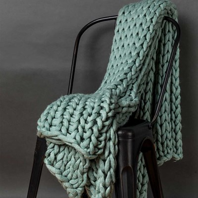 Chunky Knitted Throw - Aqua