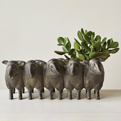 Distressed Iron Sheep Planter