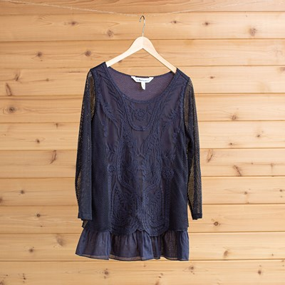 fe805c66ca9 Mesh Embroidered Layered Tunic