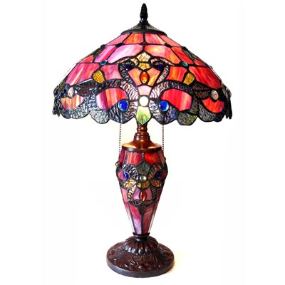 Stained Glass Magna Carta Double-Lit Lamp - Warm Tones