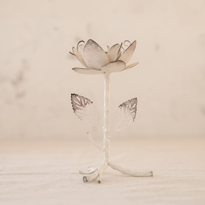 Metal Flower Taper Candle Holder - Small