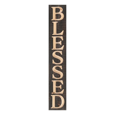 """Blessed"" Carved Pine Plank Sign"