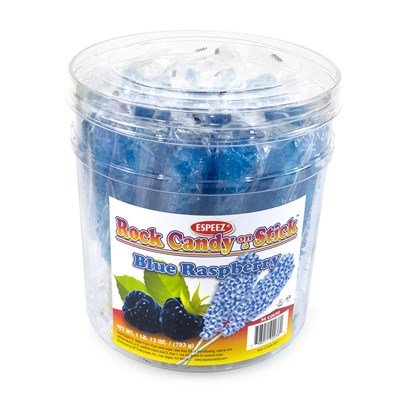 Royal Blue Raspberry-Flavored Rock Candy Sticks - 36 count