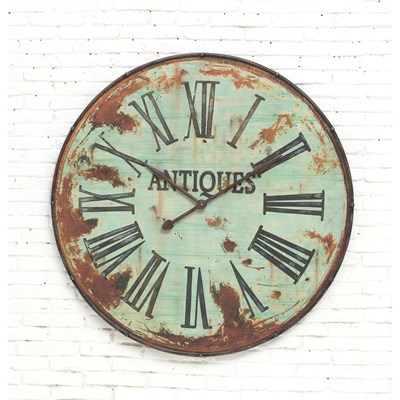 Distressed Round Metal Wall Clock