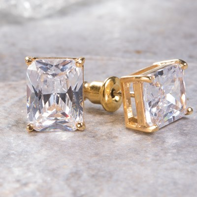Gold Emerald-Cut Stud Earring