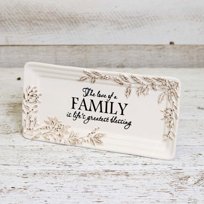 Stoneware Rectangular Platter with Sentiment