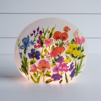 Magnificent Flower Light Round Glass
