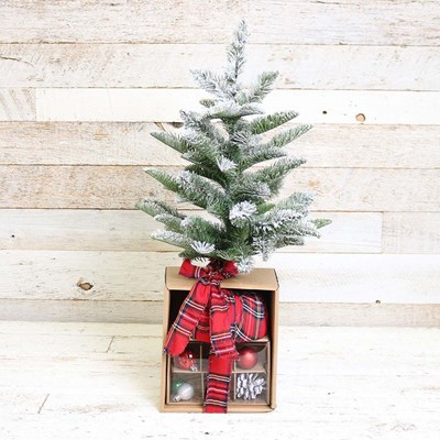 "21"" Snowy Tabletop Christmas Tree Set"