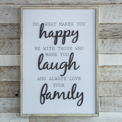 "Oh Gussie! ""What Makes You Happy"" Framed Wall Decor"