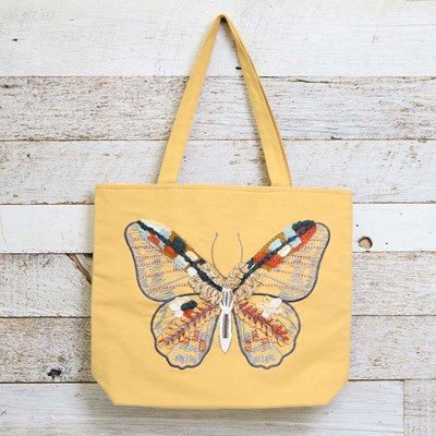 Textural Butterfly Canvas Tote