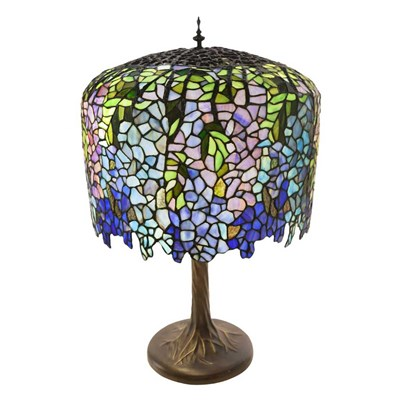 Tiffany Style Stained Glass Wisteria Table Lamp