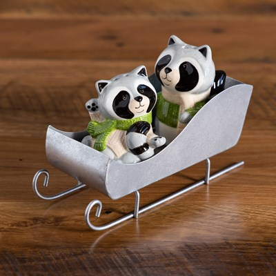 Racoons On Sled Salt and Pepper Set
