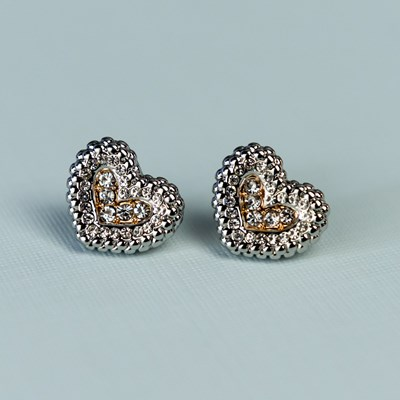 Two-Tone Heart Earrings