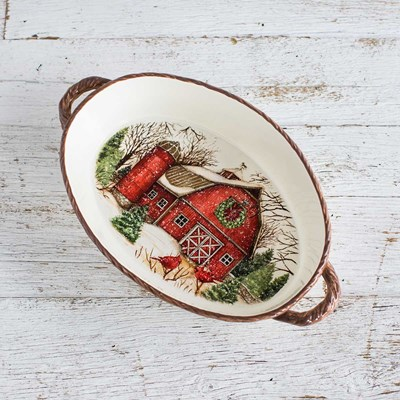 Stoneware Snowy Red Barn Baking Dish