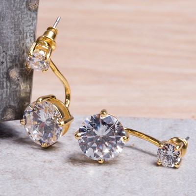 Gold Cubic Zirconia Stud Earring with Drop Jacket