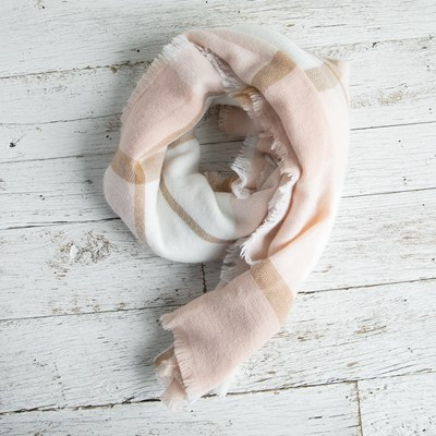 Blush Plaid Blanket Scarf