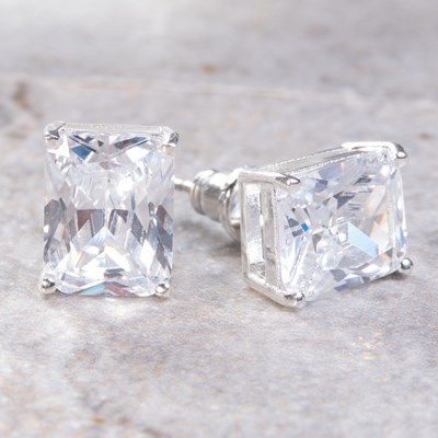 Silver Emerald-Cut Stud Earring