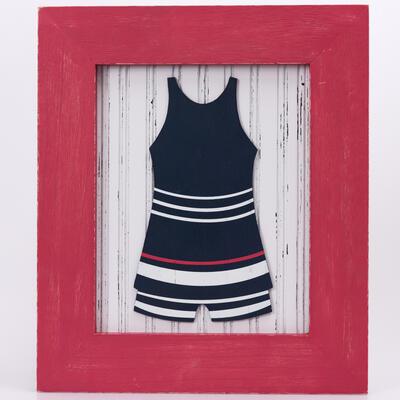 Vintage swimsuit wall decor stripes