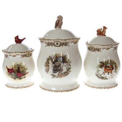 Woodland Stoneware Canisters - Set of 3