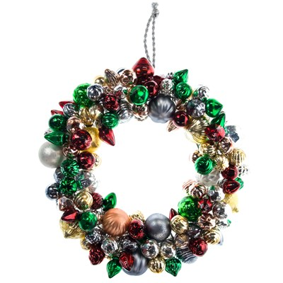 multicolored glass ornaments wreath - Cracker Barrel Store Christmas Decorations
