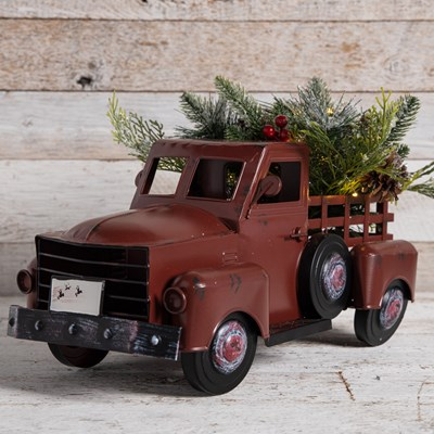 Red Metal Truck with Light-Up Greenery Decor