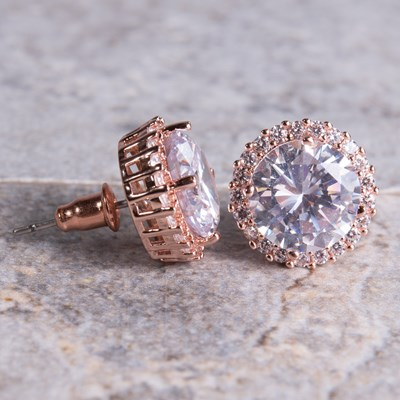 Rose Gold Round-Cut Cubic Zirconia Halo Stud Earring