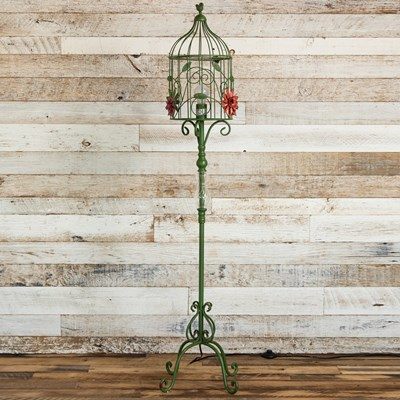 Green Metal Birdcage Lamp