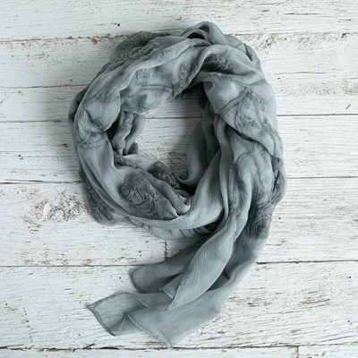 Gray Embroidered Scarf