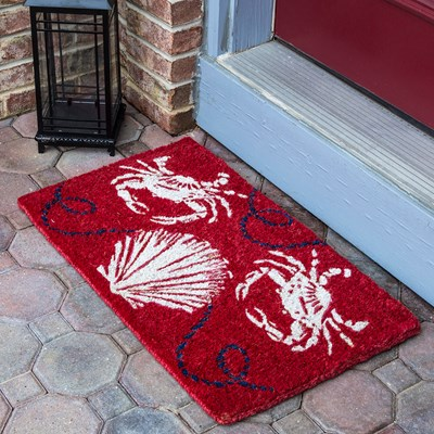 Sea Crabs and Shell Handwoven Coir Doormat