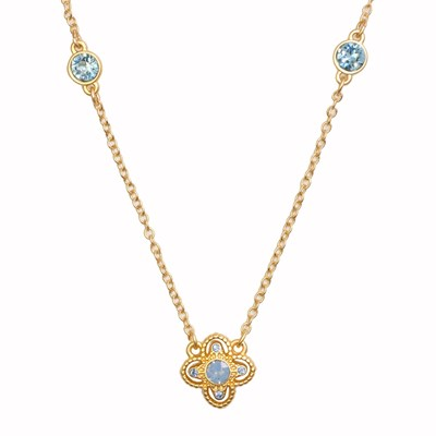 Swarovski Crystal Blue Star Necklace - 14K Gold