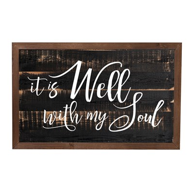 """It Is Well With My Soul"" Framed Sign"