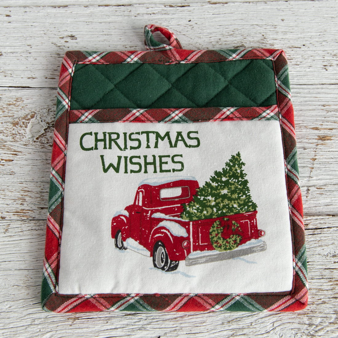 Vintage Red Truck Christmas Placemats.Red Truck Pocket Oven Mitt