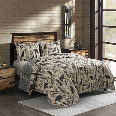 Reversible Forest Weave 3 Piece Quilt Set - King