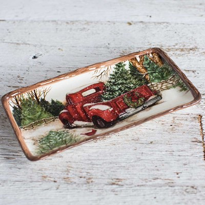 Stoneware Snowy Red Truck Appetizer Tray