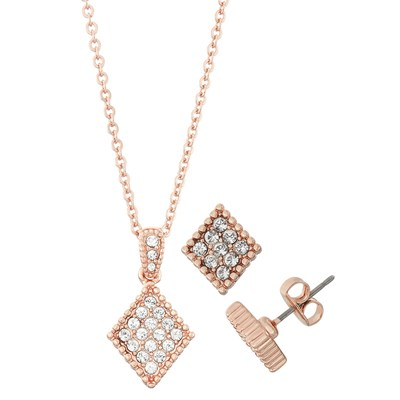 Swarovski Crystal Diamond Necklace and Earring Set - 14K Rose Gold