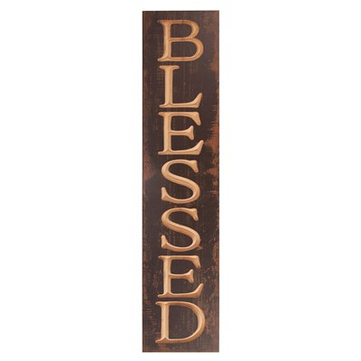 """Blessed"" Carved Wood Sign"