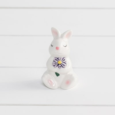 Mini Rabbit with Purple Flower Salt Shaker