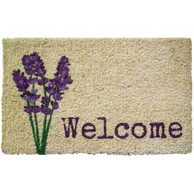"Lavender ""Welcome"" Handwoven Coir Doormat"